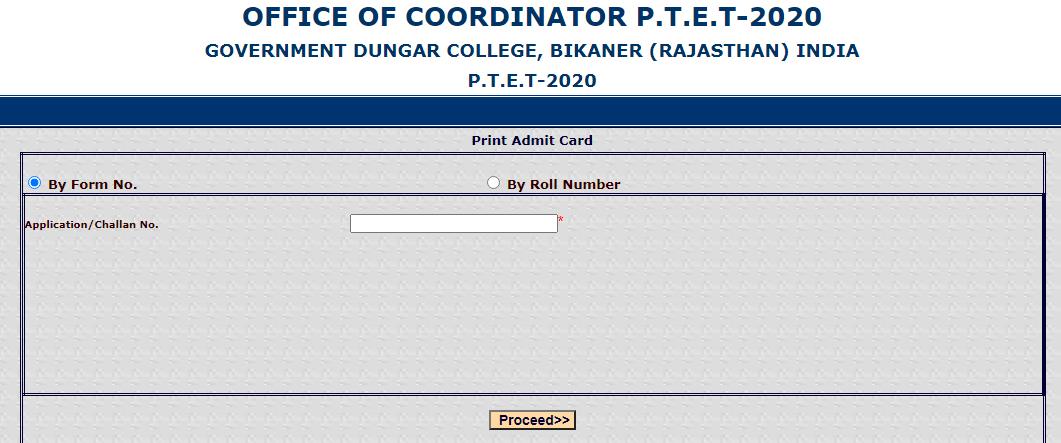 Rajasthan PTET 2020 Admit Card